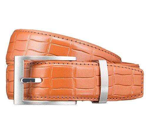 Pioneer Gürtel Herrengürtel Ledergürtel Orange 3414, Farbe:Braun, Länge:85