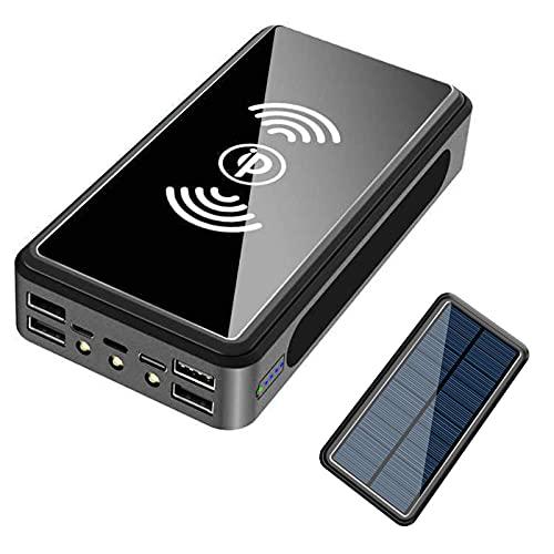 Cargador Solar Portátil 50000mAh, Batería Externa Movil [4 Entradas y 6 Salidas] Power Bank Solar USB C 22.5W Carga Rapida de Gran Capacidad Banco de Energía para iPhone Samsung Huawei Tableta,Negro