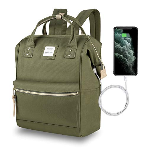 Hethrone Laptop Backpack 15.6 Inch Water Resistant School Backpack Wide Open Travel Work Rucksack Bag Casual Daypack for Women Men (Army Green -2)