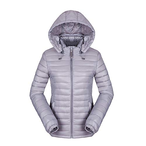 HAOKTY Damen Jacke Steppjacke Daunenjacke Übergangsjacke Outwear mit Kapuze Gesteppt (Grau, L)