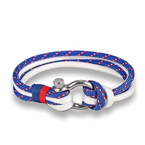 EXINOX Pulsera Nautica Hombre Y Mujer | Cuerda Nautica Acero Inoxidable (Azul Claro, Rojo y Blanco)