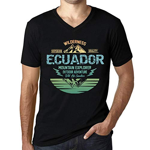 One in the City Hombre Camiseta Vintage Cuello V T-Shirt Gráfico Ecuador Mountain Explorer Negro Profundo