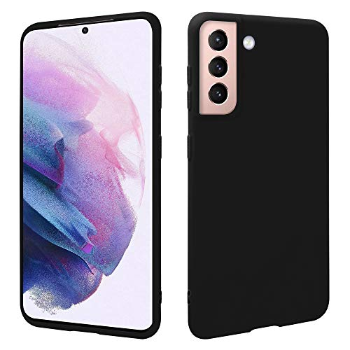 HSP Schwarze Hülle kompatibel mit Samsung Galaxy S21 5G | Premium TPU Silikon Hülle | Geeignet für Induktives Laden | Kratzfest Stoßfest | Matte Oberfläche | Passexakte, weiche, dünne Schutzhülle