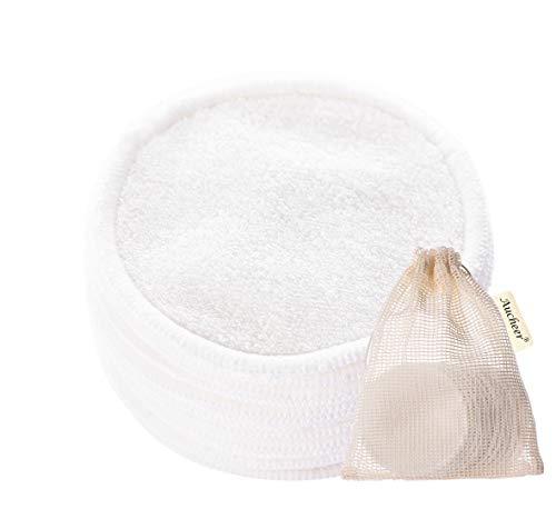 12 Packs Lingette Démaquillante Lavable, Disques Coton Demaquillant Lavable Bio, Fibre de bambou (devant) + Cotons (dos) Double épaisseur Tampons Démaquillants Réutilisable pour Nettoyage yeux/visage