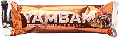 Body Attack YAMBAM, Proteinriegel Mix mit 33{43fc030570897b80208f2b7cc31478a2d3f7cbb3d4cc33cce84bda2f8c198119} Eiweiß, Fitness-Riegel ohne Zuckerzusatz und ohne Aspartam (Peanut Butter Caramel, 15 x 80g)