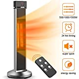 Patio Heater- Space Heater Electric Heater w/Remote, 24 Timing Auto Shut Off Garage Heater, 500/1000/1500W, Super Quiet 3s Instant Warm Vertical Infrared Heater for Big Room Outdoor Heater Backyard