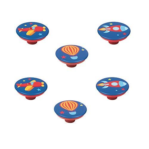 POMOLINE 6 Un. Tirador Pomo Mueble Infantil Resina ABS serigrafia AVIONETA Cohete Globo Zepelin - Diámetro 50MM