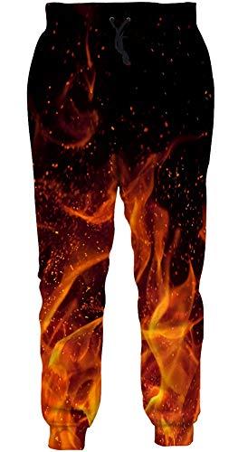 ALISISTER Unisex Jogginghose Lustig 3D Galaxis Feuer Druck Hose Herren Damen Cool Lässige Sport Gym Trainingshose mit Kordelzug Taschen S