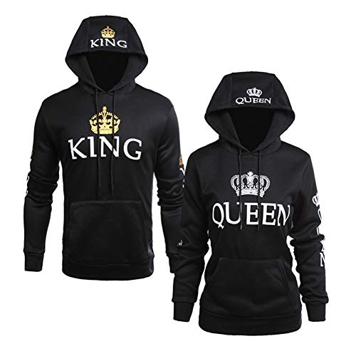 Pareja Impresión Corona King & Queen Sudaderas con Capucha Manga Larga Jersey Camisa de Entrenamiento Hombre Mujer Pullover