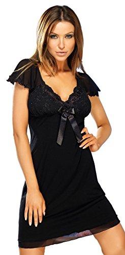 Donna schickes und stylisches Viskose-Negligee Nachthemd Sleepshirt in Schwarz mit zarter stikerei am Dekolletee und niedlichen Tüll-Ärmeln, schwarz, Gr. S