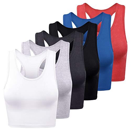 FEPITO 6 Piezas Camisetas Cortas básicas para Mujer, Camisetas Deportivas de algodón, Camisetas sin Mangas con Espalda Cruzada, Camisetas de Entrenamiento, Camisetas Cortas para Mujer