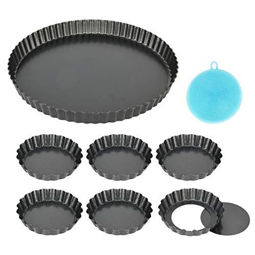 7 Stück Tarteform mit Hebeboden , Antihaftbeschichtung Quicheform Klein 10 cm / 4 Zoll X6 und 28 cm / 11 Zoll X1 Rund Pie Form , Tartelette Förmchen aus Kohlenstoffstahl , Highkit (10cm×6+28cm×1)