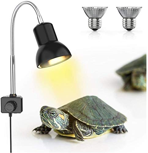 DADYPET 25W Reptile Heat Lamp with 2 Bulbs, UVA UVB Clamp Lamp for Aquarium Infrared Heat Lamp Basking Lamp with 360°Rotatable Clip & Power Adapter for Lizard Turtle Snake Aquarium