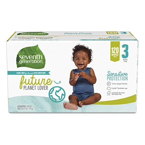 Seventh Generation Baby Diapers Size 3 120 Count Giant Pack for Sensitive Skin