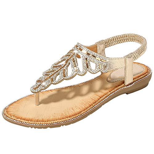 Bigtree Damen Sandalen Sommer Bohemian Flip Flops Strand Thong Mini Wedge Riemchen Sandalen Flach Sandaletten Slip On mit Strass Gold 38 EU