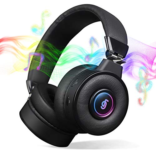 Bluetooth Headphones with Microphone,5.0 Bluetooth Headphones Over Ear with Deep Bass,Hi-Fi,Built in Mic,20Hours Playtime,RGB Backlit,Wired/Wireless Headset for Mac Game Travel Class Home Office