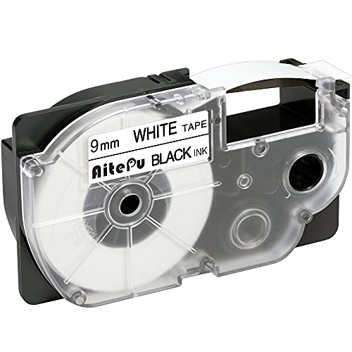 1本 9mm 白地黒文字 互換 カシオ ネームランド テープ 白地 黒文字 XR-9WE XR 9WE CASIO Name Land テープ 長さ8m