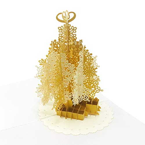 Gold Christmas Tree Pop Up Card - Holiday Tree, Snowflake, Gift Boxes, Navidad Scene - Message Page for Personalized Greeting - Funny, Amazing, Happy Holiday Gifts - Blank Inside, Thick Envelope