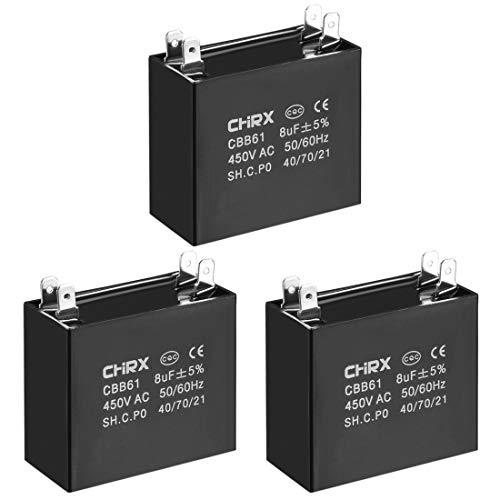 sourcing map Condensador De Funcionamiento CBB61 450V AC 8Uf Doble Insertar Los Condensadores De Película De Polipropileno Metalizado para Ventilador De Techo 3Pcs