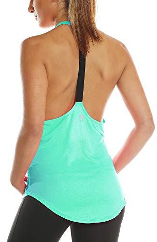 icyzone Damen Zumba Shirt Sport Top Lang - Rückenfrei Workout Gym Tanktop Yoga Oberteile (M, Ice Green)