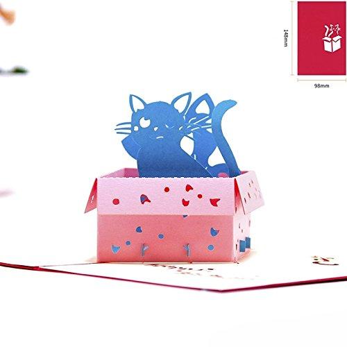 UNIQUEplus KITTY CATS HAPPY----BIRTHDAY THEME Creativo 3D Pop UP tarjetas de felicitación de regalo para cumpleaños – NUEVA BORN, gracias, mejores muñecas, invitaciones