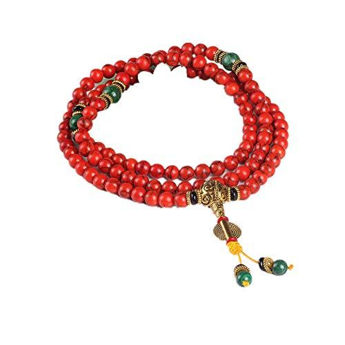 108 pulsera de coral rojo cuentas de piedra natural mala collar oración budista rosario pulseras de hilo buda meditación