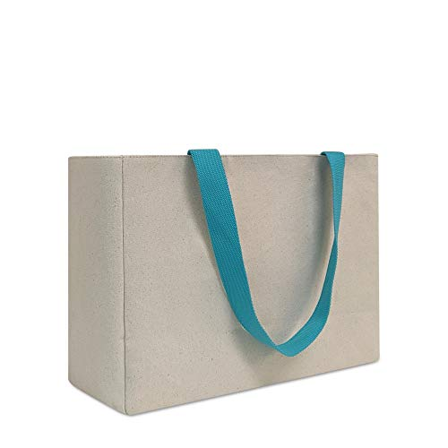 Large Reusable Grocery Shopping Bag Eco Friendly Cotton Canvas Shopping Tote Water Resistant Interior Liner Collapsible Foldable Design with Reinforced Bottom Blue Red Beige Pink Teal Beige
