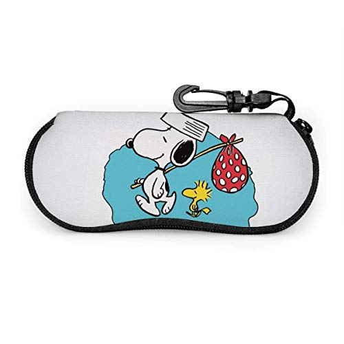 Estuche para gafas Estuche para gafas de sol Snoopy de dibujos animados de Anime Estuche para gafas con cremallera de neopreno ultra suave y ligero con clip para cinturón