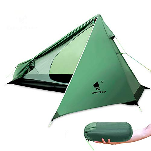 Mdsfe GeerTop Ultralight Camping Tent One Person 3 Season Waterproof 950g Backpacking Tents No Trekking Poles for Outdoor Hike Tourist-United States