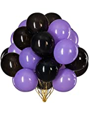 Tim&Lin 12 inch Purple and Black Balloons Quality Black and Purple Balloons Premium Latex Balloons Helium Balloons Party Decoration Supplies Balloons, Pack of 60 (3.2g/pcs)