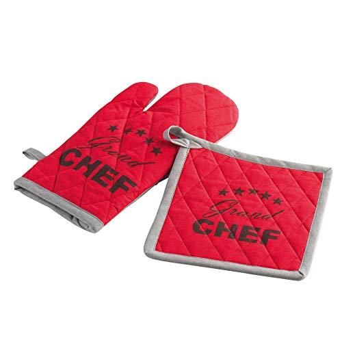 douceur d intérieur 1730572 Gant+ Manique Chef Etoile Coton Rouge 18 x 28 cm 20 x 20 cm