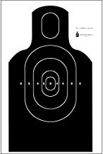 """NRA EIC E-Silhouette Combat Target Features Standard E-Silhouette Military Torso with Modified TPC Scoring Outlined in White Ink: Black Size: 20"""" x 36"""""""
