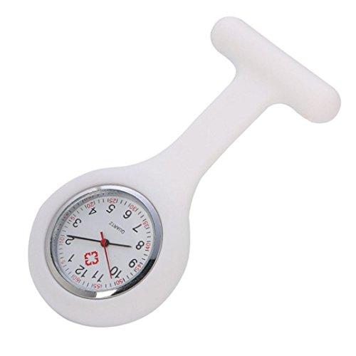 hunpta Uhr für Krankenschwestern, aus Silikon, mit einem Spange, inklusive Batterie, weiß