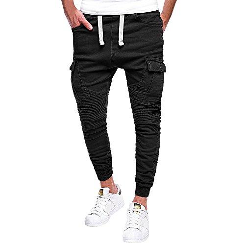 Kword Tuta da Uomo con Cerniera Pantalone Casual da Sport Lavoro Pantaloni Uomo Lunghi con Coulisse Tasche Cargo Pants Casual Sport Trousers