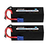HRB 4S 14.8V 6000mAh 50C RC LiPo Battery Hard Case with EC5 Connector for RC Buggy Truggy Crawler Monster Car Boat Truck (2packs)