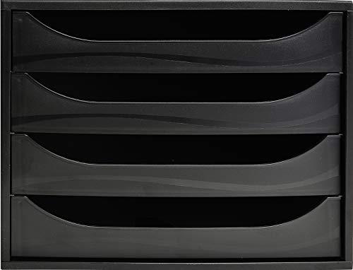 Exacompta 228014D Ablagebox Ecobox Open Eco (mit 4 offenen Schubladen, DIN A4+) 1 Stück, schwarz