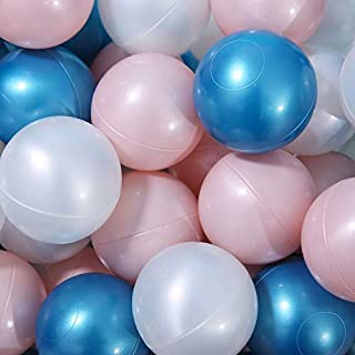 PlayMaty Colorful Ball Pit Balls - Pearl Colors Phthalate Free BPA Free Plastic Ocean Crush Proof Stress Balls for Kids Playhouse Pool Ball Pit Accessories Pack of 50 (Pink&White&Blue)