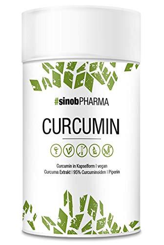 sinob Curcumin 95% - veganistisch. Hooggedoseerde curuminoïden met piperine (zwarte peper) 'Verhoogde bioverbrengbaarheid' 1 x 60 capsules