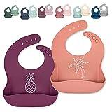 Ava + Oliver Silicone Bib Set - Adjustable, Waterproof - Set of 2 (Peach/Purple)