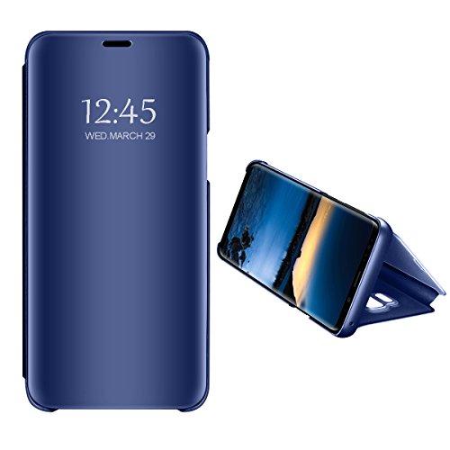 Zater Compatible with Hülle Samsung Galaxy S6 Hülle, S7 Spiegel Schutzhülle Flip Handy Case mit Standfunktion Card Handyhülle für Apple Samsung Galaxy S6 Edge/S7 Edge (Blau, Samsung Galaxy S6)