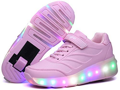 Zapatos de Patinaje con Ruedas para niños y niñas con luz LED Zapatillas Deportivas al Aire Libre,con Ruedas Se Pueden Cargar Carga USB Automática Calzado de Skateboarding