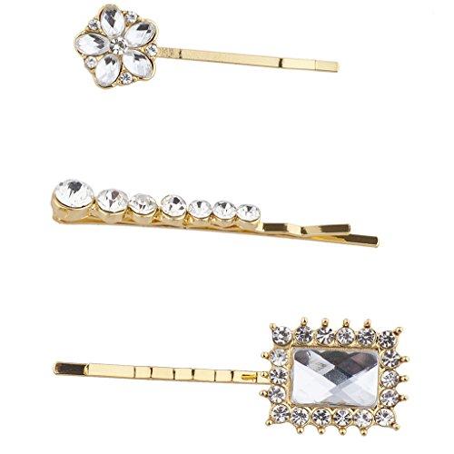 Lux Accessoires Doré Cristal Strass Fleur de mariage Bobby broches Lot de 3