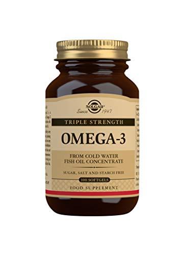 Solgar Omega 3 Triple concentración, Apoyo al Cuidado del Corazón, Aceite de Pescado Concentrado de Aguas Frías que aporta EPA y DHA, 100 Cápsulas