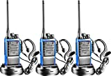 Arcshell Rechargeable Long Range Two-Way Radios with Earpiece Headsets 3 Pack Walkie Talkies Li-ion Battery and Charger Included