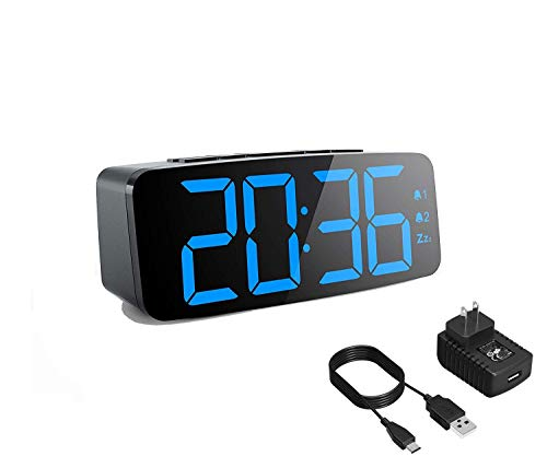 CANY Dual Alarm Clock with Large 6.3 Inch LED Display for Bedrooms, Kitchen, Desk, Shelf, Travel, Home and Business (UL Certified Power Adapter, Micro USB Cable and Backup Battery Included)