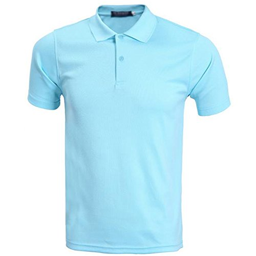 Demarkt poloshirt heren polo T-shirt polohemd korte mouwen polyester lichtblauw XXXL