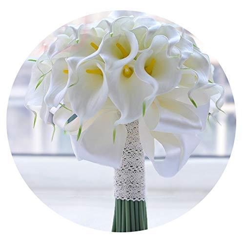 CU Twice 2019 Wasserfall-rote Blumen-Brautsträuße Kunstperlen Kristall Hochzeit Bouquets Blumenstrauß De Mariage Rose,Weiße Calla-Lilie