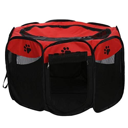 hgkl Jaulas para Perros Portátil Plegable Rectangular Tienda De Mascotas Perro Cause Cachorro Puppy Kennel Cat Pet Pet Juego Tienda Tunnel Tirador Casa De Perro (Color : Red, Size : 73 x 73 x 43cm)