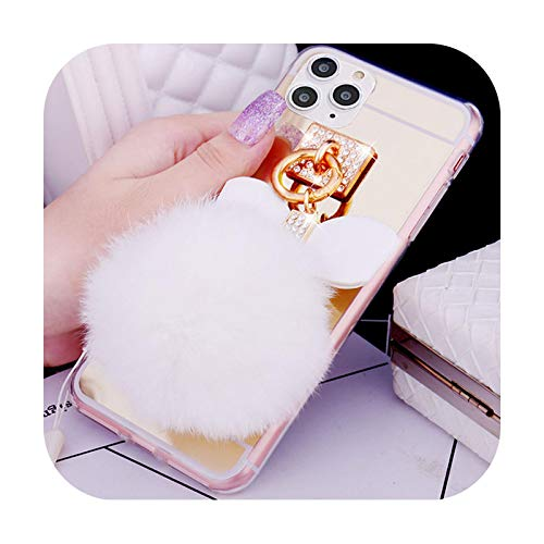 Makeup mirror Case For iphone 12 X XS XR Pro MAX 7 8 6S plus SE 2020 Cute Hair Ball Soft TPU Bling Cover For iphone 11 pro max-mirror gold white-For iPhone 6S Plus