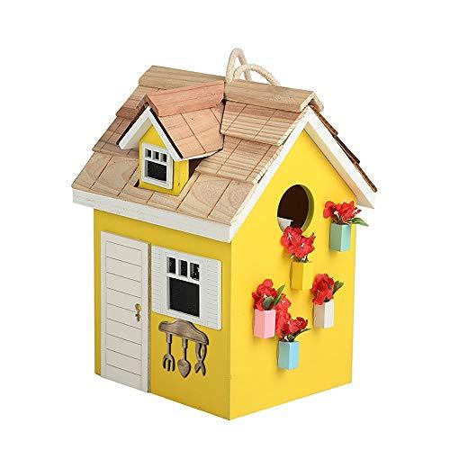 SCOC Casas para pájaros Cabaña de Madera Birdhouse Patio Jardín Cottages Casa del pájaro por Pequeño Birdhouse Colgante al Aire Libre Decoración Blanco Amarillo para pájaros del jardín